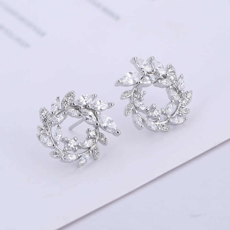 2018 Fashion 925 Sterling Silver Bulat Berlian Imitasi Anting-Anting Anting-Anting Perhiasan Pendientes Brincos Perhiasan Fashion