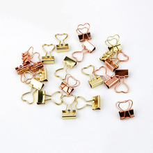 12Pcs Creative Heart Shape Metal Binder Clips Gold Rose Paperclips For Photos Tickets Letter Notes Paper Clip Office Supply