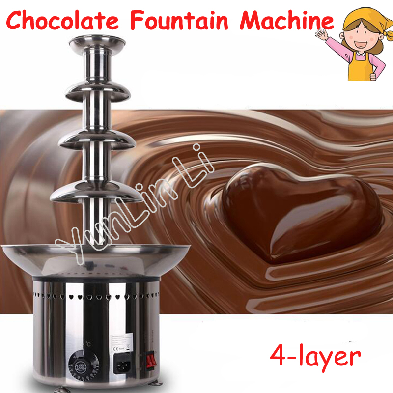 4-layer Chocolate Fountain Machine 110V/220V Commercial Stainless Steel Hot Pot Waterfall Machine ANT-8060 fast shipping food machine 6 layers chocolate fountains commercial chocolate waterfall machine with full stainless steel
