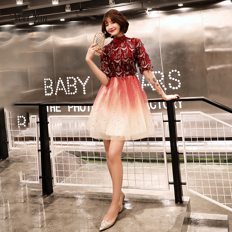 wei yin Robe De Soriee 2019 New   Cocktail     Dresses   Tasse Short Sleeves Elegant Homecoming Graduation Prom Party Formal Gown WY1607