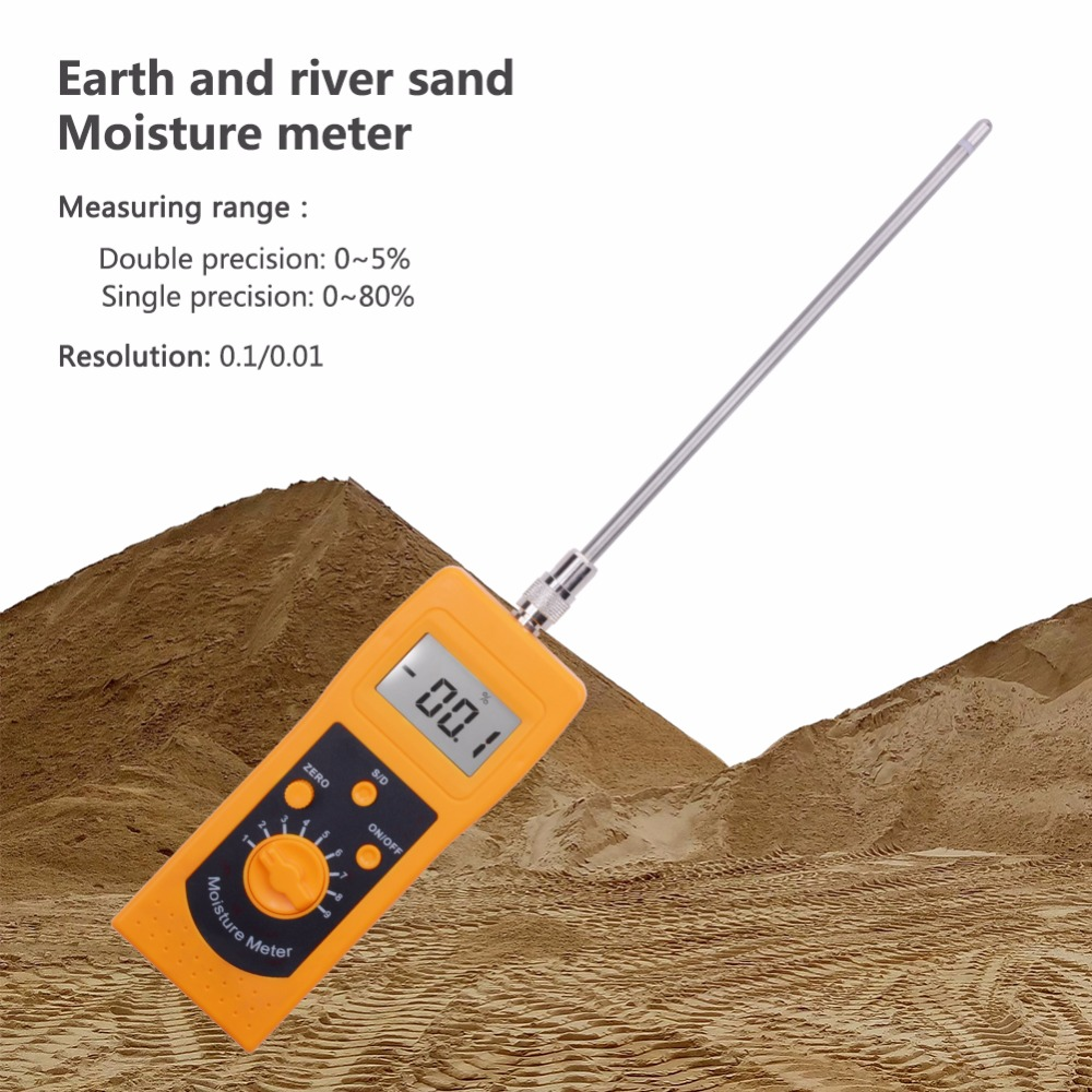 Portable High Frequency Soil Moisture Meter DM300L Sand Moisture Meter Coal Powder Moisture Meter Tester Humidity 0%-80% ms300 chemical combination powder coal powder and powder materials silver sand soil high frequency moisture meter