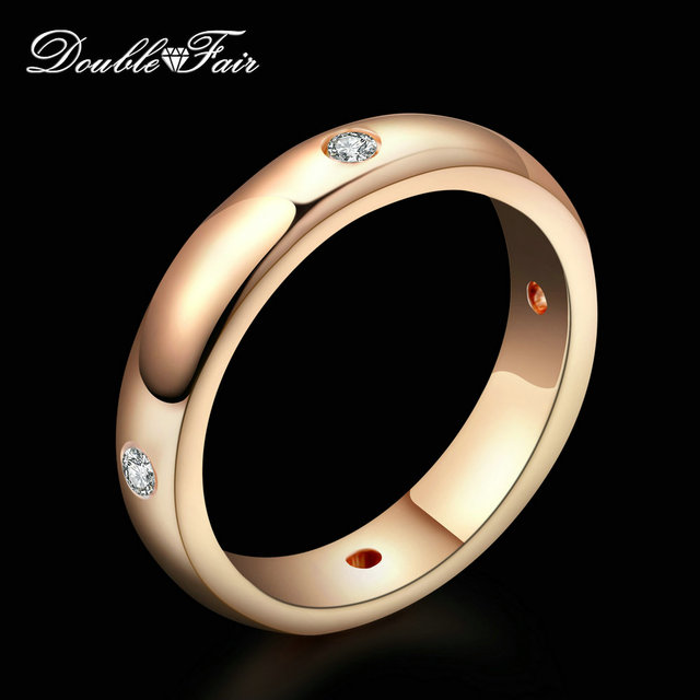 Double Fair Simple Style Cubic Zirconia Engagement Ring Rose/White Gold Fashion