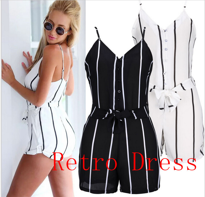 2016 summer Women fashion V neck striped playsuit Backless strap sashes sexy club jumpsuit romper overalls