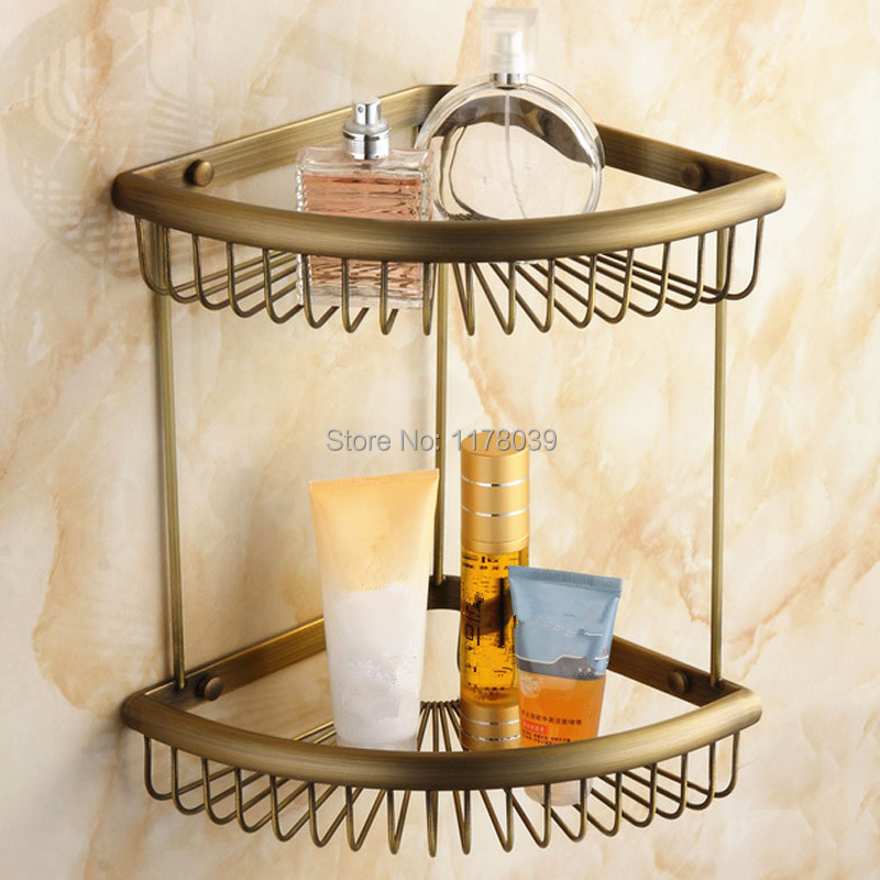 Europe Style Antique Brass Bathroom Shower Shelves Retro Copper Dual Tier Corner Shelf Wall