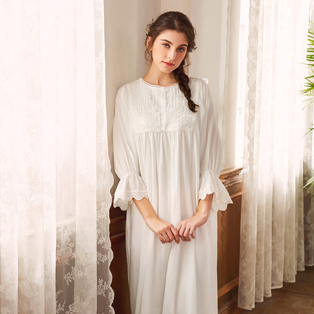 Folded Cotton Long Nightgowns for Women Vintage Nightwear Long Sleeve Night  Dress Medieval Sleepwear Nighties for Women 5ebe36bdcf