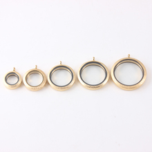 Wholesae Gold Glass locket 20mm 25mm 30mm 34mm 38mm Screw Silver 316L Stainless steel floating pendant Father day gift