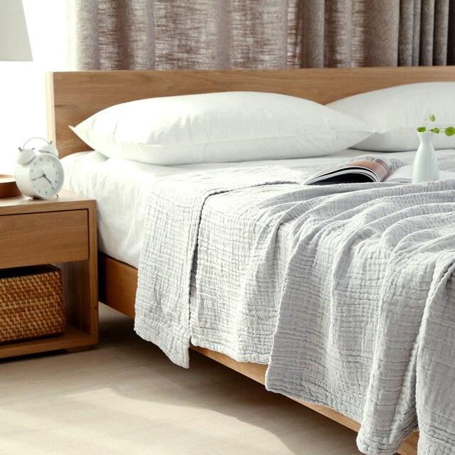 Summer Solid Brief 100 Washing Cotton Throw Blanket 3 Layers Muslin Child Air Sofa Throws