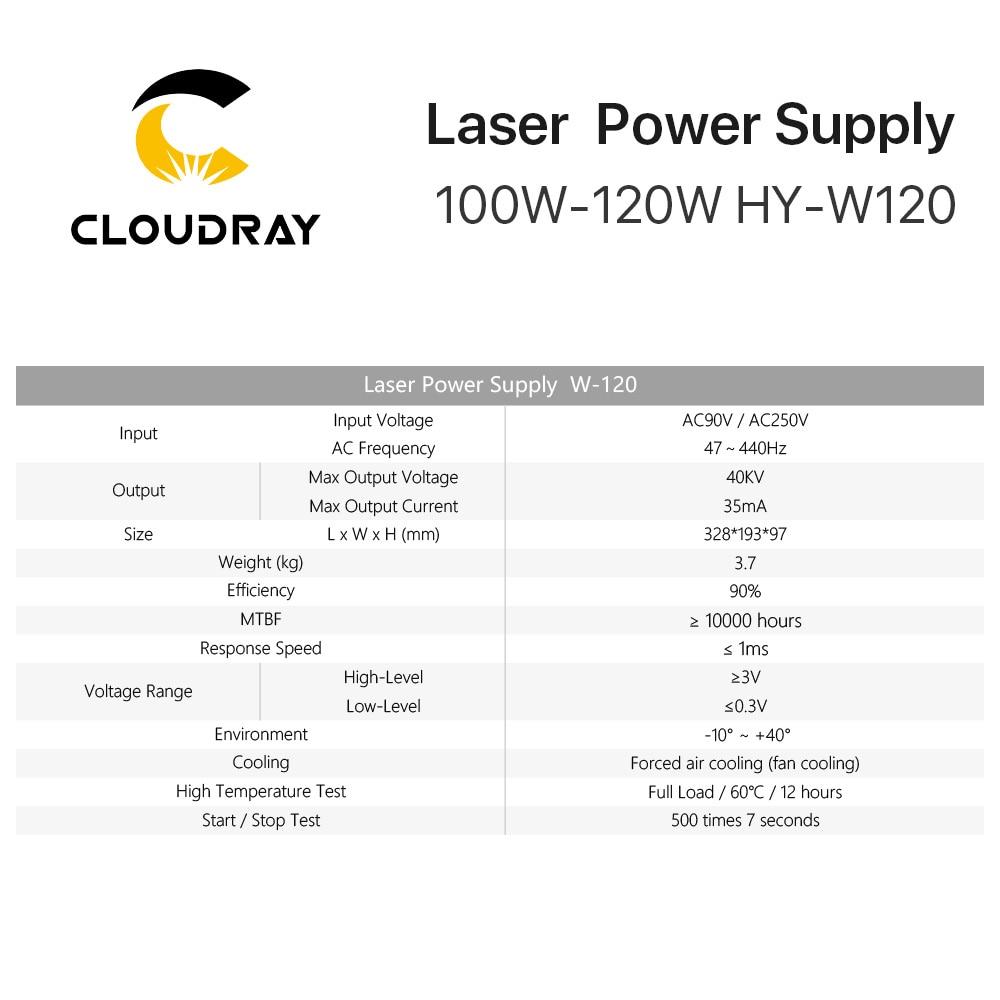 Fuente de alimentación de láser de CO2 Cloudray 100-120W para - Piezas para maquinas de carpinteria - foto 4