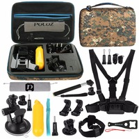 PULUZ 20 in 1 Accessories Combo Kit with Camouflage EVA Case for GoPro Hero7/6/5/4/3/2 Xiaoyi and Other Action Cameras