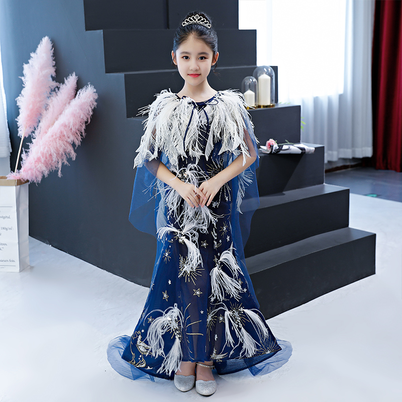 Mermaid Flower Girl Dresses for Wedding Feather Beading Kids Evening Gowns with Cape Small Trailing First Communion Dress B277 luxury princess dress evening gowns birthday floral pearl beading girls formal dress detatchable trailing flower girl dresses b