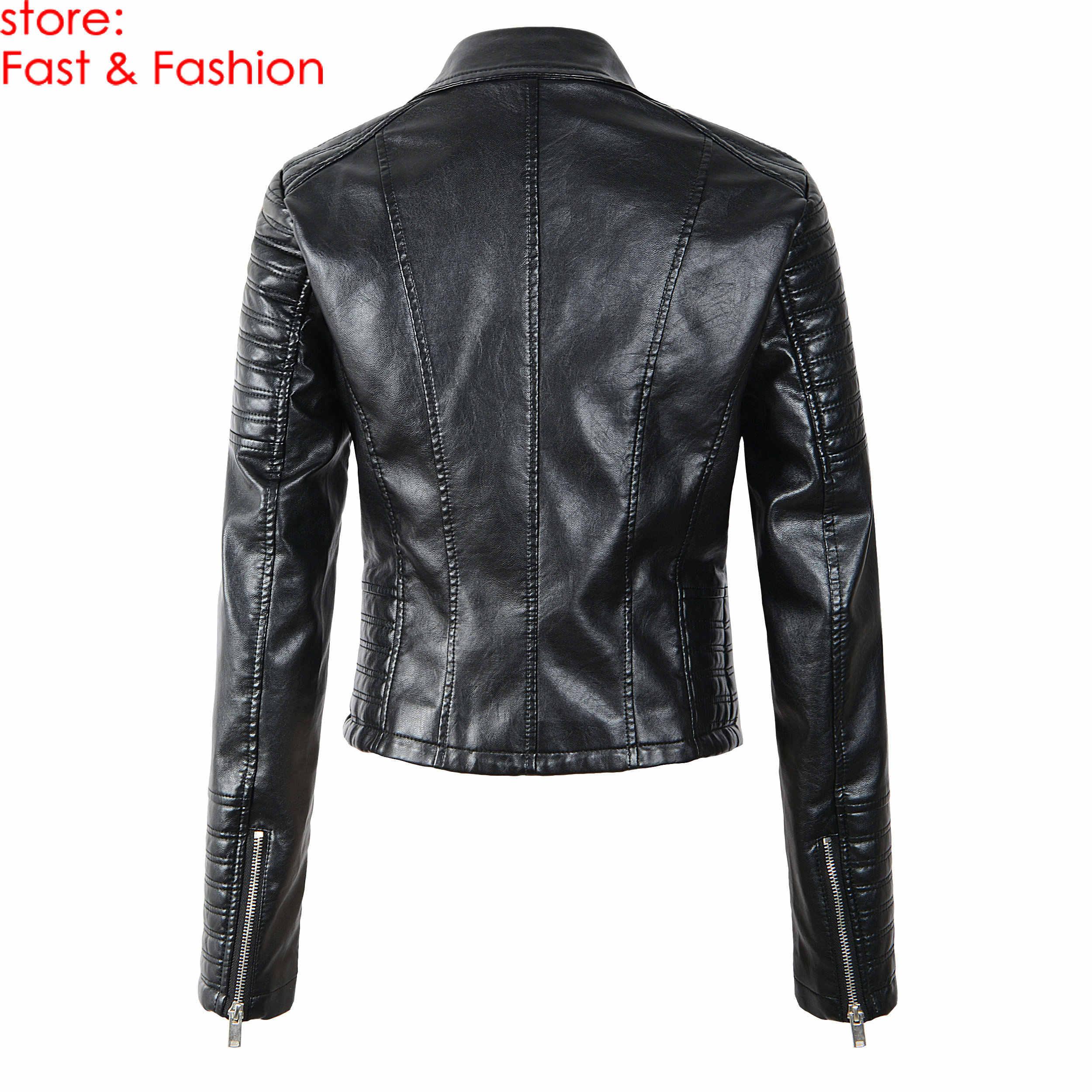 2019 nowych moda kobiet gładkie motocyklowe Faux skórzane kurtki damskie z długim rękawem jesień zima Biker Streetwear czarna kurtka
