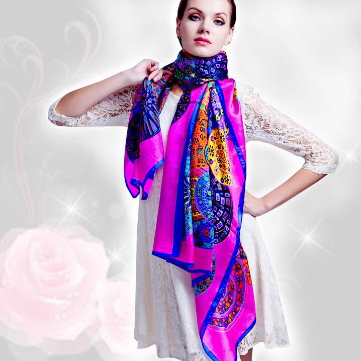 Click here to Buy Now!! Hiver 100% réel soie Écharpe wrap hijab pour les  femmes femelle de mode foulard femme ... ba0efc642ad