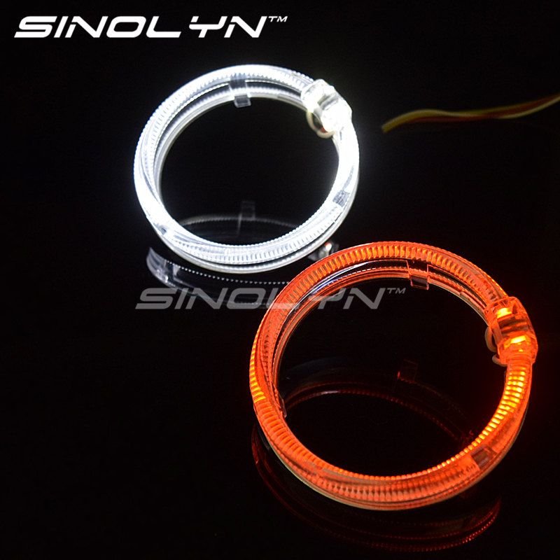 Car Styling 98mm Dual Colors LED Light Guide Angel Eyes Fiber Optic Switchback DRL Halo Rings Turn Signal Lights White Yellow free shipping kia k5 exclusive use led angel eyes square round shape full set custom made drl two colors white yellow 18w 12v