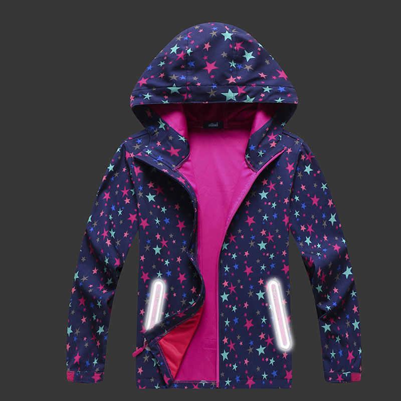 女の子春ソフトシェルウインドブレーカースタープリント通気性防水ジャケットフード付きカーディガンスポーツウェアカジュアルアウトドアジャケット