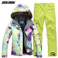 GSOU SNOW Brand лыжный костюм Для женщин лыжные куртки брюки зима Mountain Лыжный Спорт костюм Открытый Водонепроницаемый Лыжный Спорт Сноубординг зи