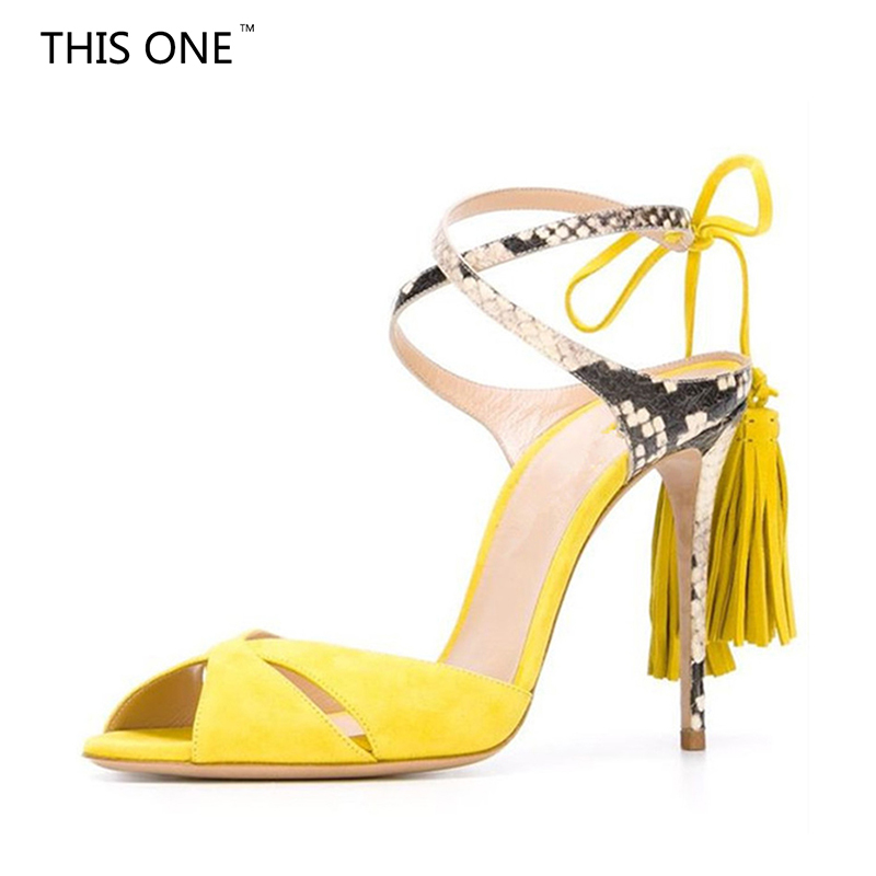 Fashion summer sexy high heels ankle strap yellow blue fringe sandals party shoes for woman peep toe snakeskin women stiletto sexy women s peep toe shoes with multi layer fringe and rivet design