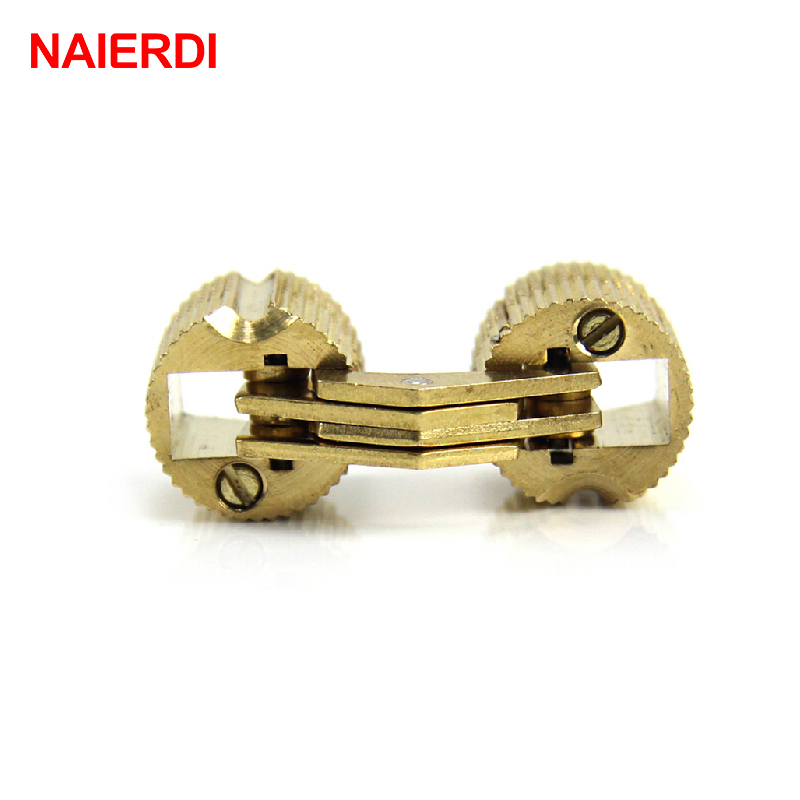 NAIERDI 4PCS Diameter 24mm Copper Barrel Hinges Cylindrical Hidden Cabinet Concealed Invisible Brass Hinges Door Hardware 2pcs set stainless steel 90 degree self closing cabinet closet door hinges home roomfurniture hardware accessories supply