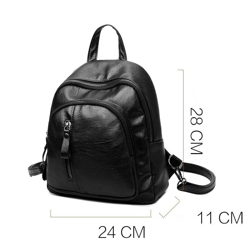 Sac à dos en cuir décontracté sacs d'école de marque de femmes pour les adolescents sac à dos de concepteur vintage sac à dos de filles noires mochila feminina - 6