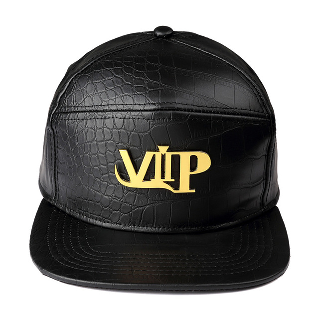 Chegada nova mens moda hip hop bonés de beisebol de couro pu unisex ocasional ao ar livre chapéus de ouro vip/preto/vermelho snapback novo estilo