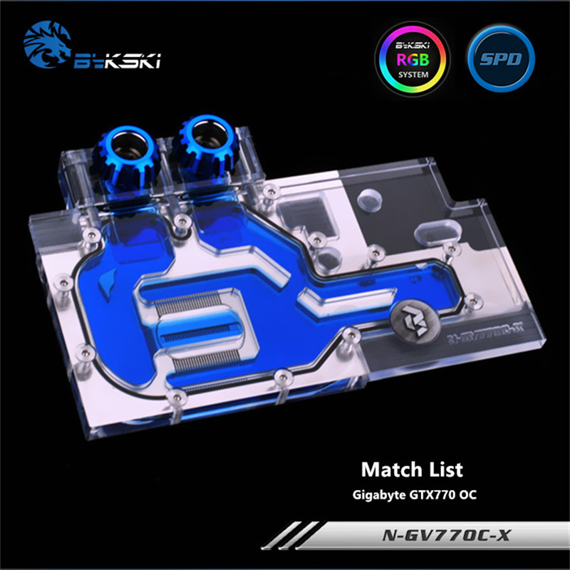 Bykski Full Coverage GPU Water Block For Gigabyte GTX770 OC Graphics Card N-GV77OC-XBykski Full Coverage GPU Water Block For Gigabyte GTX770 OC Graphics Card N-GV77OC-X