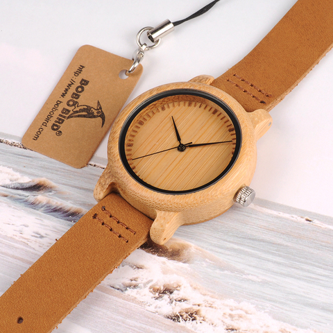 BOBO BIRD Lovers Wood Watches for Women Men Leather Band Bamboo Couple Casual Quartz Watches OEM as Gift Islamabad