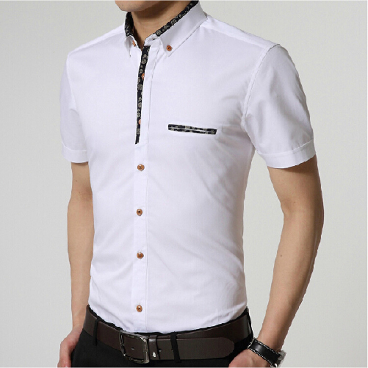 White cotton mens shirts is shirt for Men s fashion short sleeve shirts