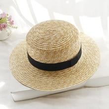 19f2e578 2018 Hot Summer Women's Boater Beach Hat Female Casual Panama Hat Lady  Brand Classic Flat Bowknot Straw Sun Hat Women Fedora