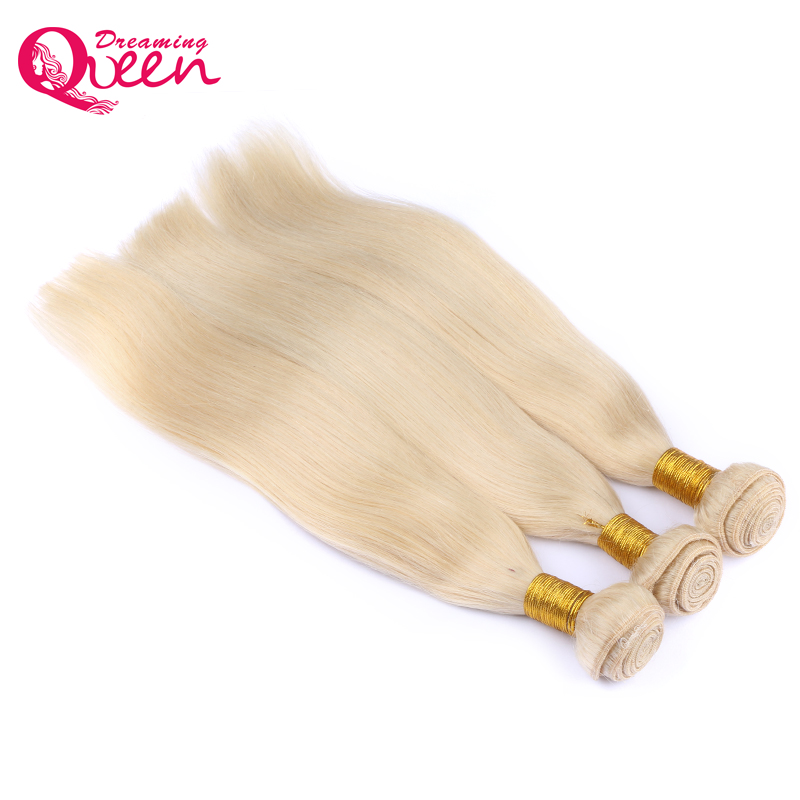 #613 блондинка Цвет Пучки Волос Бразильский прямые Пряди человеческих волос для наращивания 100% без Remy Человеческие волосы ткань 1 шт. Мечтая ...