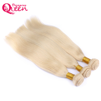 Dreaming Queen Hair Straight Brazilian Blonde Remy Human Hair Weave 613 Color 12 26 Inch 100