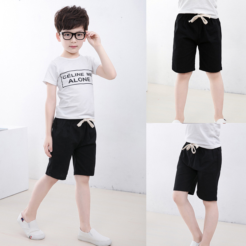 2-10 Yrs Kids Boys Trousers Knee Lenth Shorts Candy Color Girls Children Summer Beach Loose Shorts Pants Cotton&Linen 2