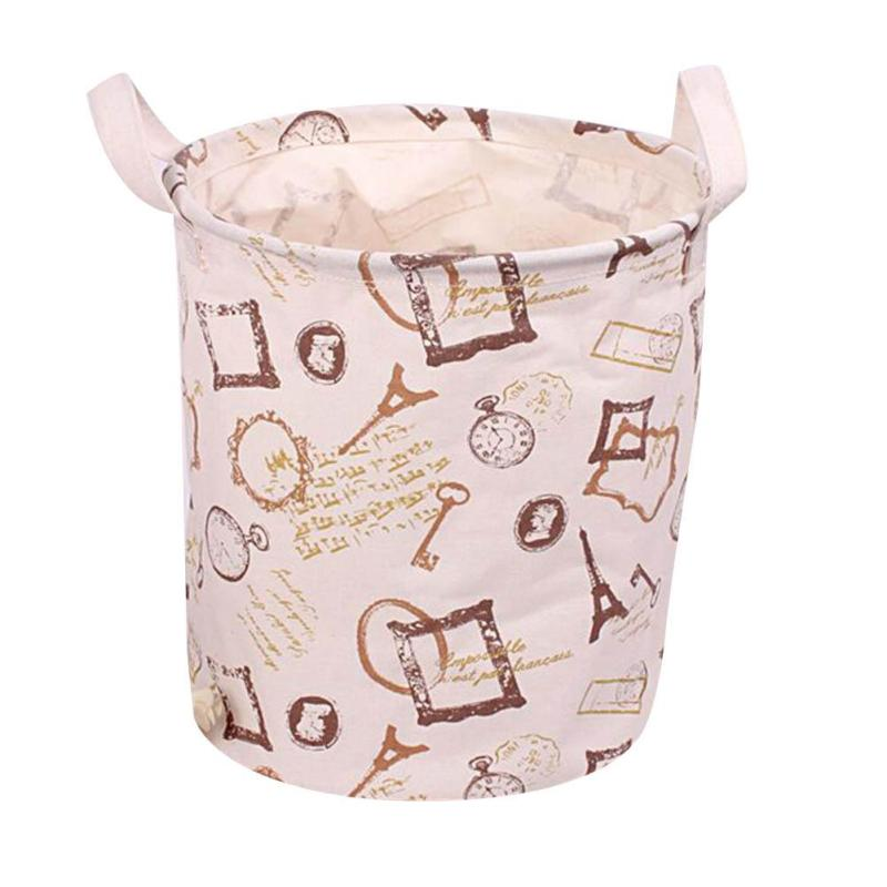 Foldable Clothes Toys Storage Basket Creative Cotton Linen Fabric Dirty Clothing Laundry Barrels Storage Bags for Book Towel 15