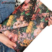2017 Весна картина маслом цветка Для женщин заклепки сумки выросли день клатч конверт сумка моды высокое качество a40-239
