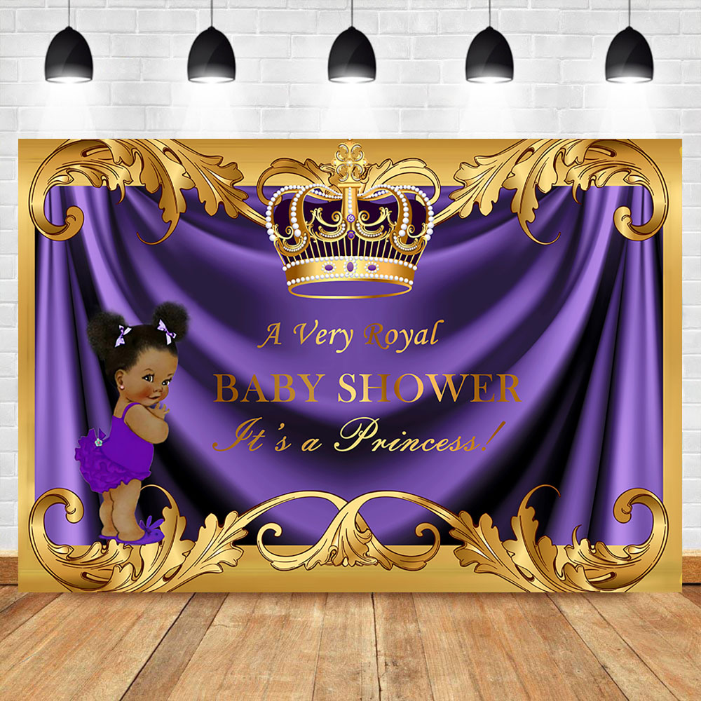 Baby Shower Backdrop Royal Little Princess Purple Crown Photography Background Party Banner Backdrops