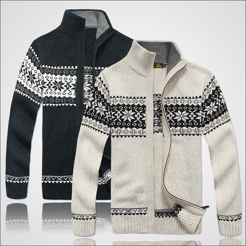 ICPANS  Brand Thick New White Blue Gray Men Long Sleeve Winter Sweaters Coats & Jackets Man 30% Wool Flower Sweater Men A0373