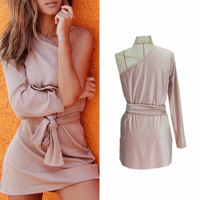 2018 Women sexy One Shoulder long sleeve Bandage Cocktail Ladies Party Short Mini Dresses casual solid color dress vestidos