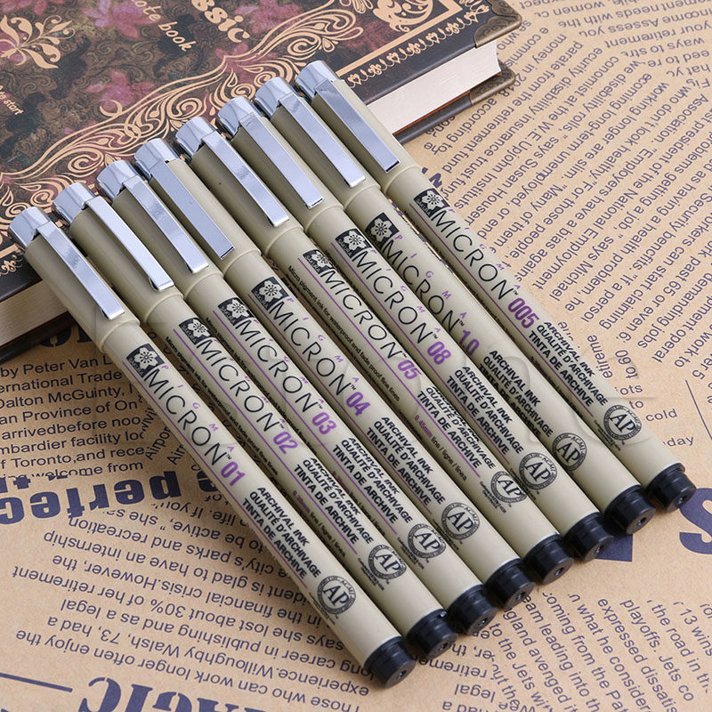 Sakura Pigma Micron Fine Line gel Pen Art Supplies 005 01 02 03 04 05 08 1 .0 italic nib art fountain pen arabic calligraphy black pen line width 1 1mm to 3 0mm