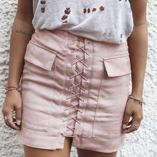 Danjeaner Women Autumn Lace-up Pencil Skirt 2017 Winter Vogue Cross Extreme Waist Vogue Zipper Break up Bodycon Transient Mini Skirts