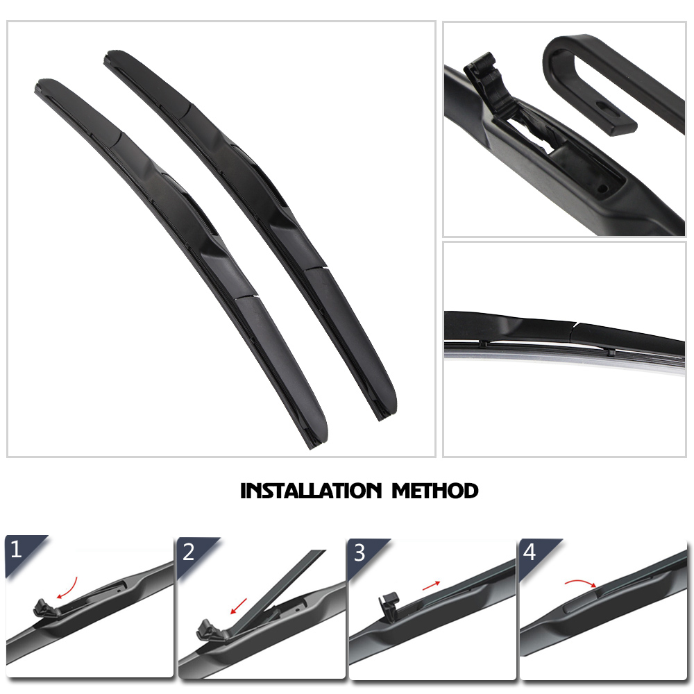 BEMOST Car Wiper Blades Natural Rubber For Ford Fiesta MK6 MK7 Model Year From 2002 To 2017 Fit Push Button U Hook Arm 1Pair in Windscreen Wipers from Automobiles Motorcycles