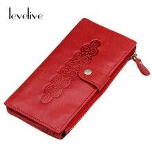 LEVELIVE Vintage Rouge Véritable Cuir Femmes Portefeuille Téléphone Poche De Mode Réel En Cuir Ladies Purse Femme Zipper Embrayage Portefeuilles