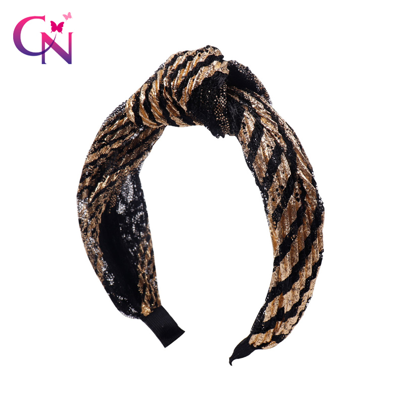 Apparel Accessories 2019 Fashion Fashion Knotted Glitter Hairband For Women Lady Wide Gold Black Stripe Headband Hair Hoop Headdress Headwrap Hair Accessories