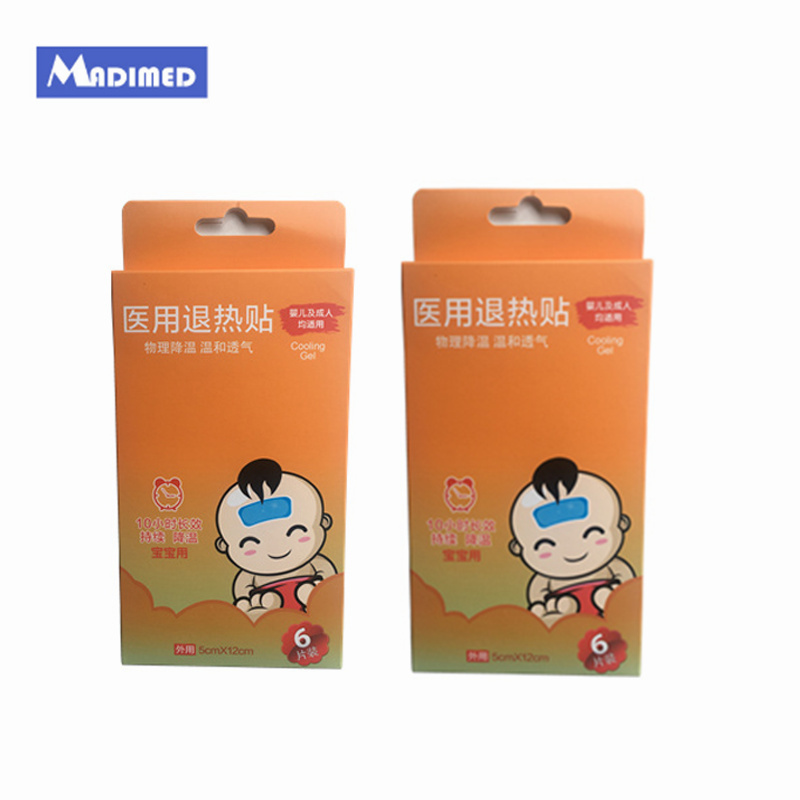 Madimed Hot Selling Menthol Cooling Gel Patches 12Pieces/2Boxes Physical Child/Adult Fever Reducer 5x12cm Fever Cooling Sheet image