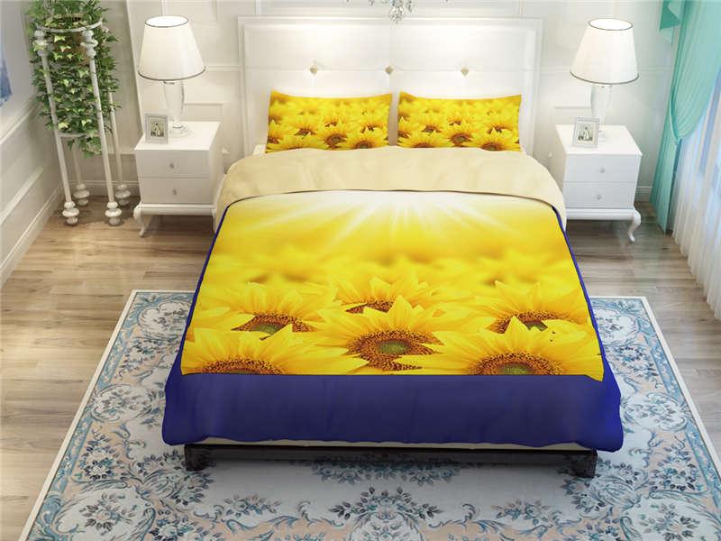 3d floral print bedding golden yellow sun sunflower duvet comforter cover set queen size 3