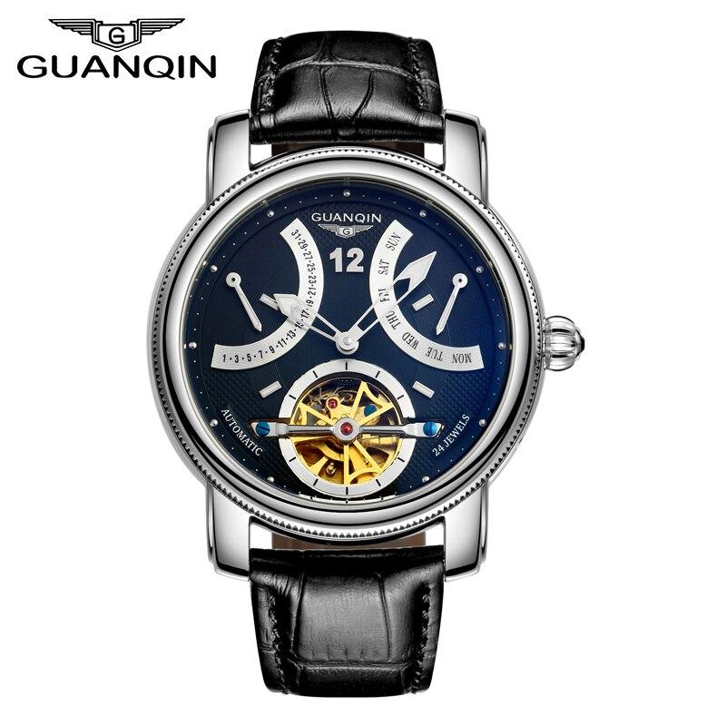 Marque de luxe GUANQIN 2015 Mode Tourbillon Montres Hommes Or Montres automatique Mécanique Montres De Luxe