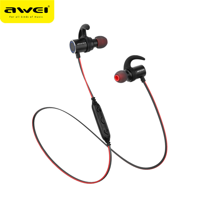 AWEI AK8 Magnetron Bluetooth Earphone Waterproof Wireless In-Ear Earphone with Microphone Stereo Sports Earbuds NEW Arrival omasen om m6 stylish stereo in ear earphone w microphone black white 110 cm