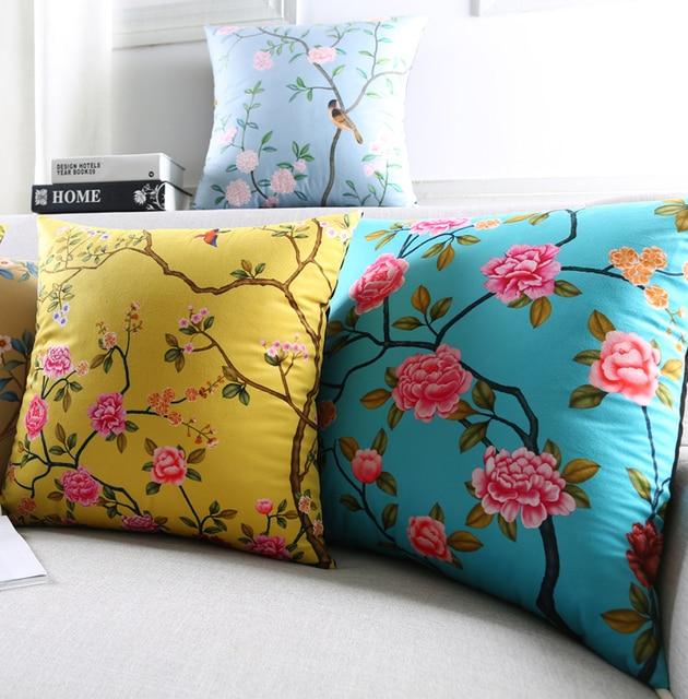Yellow Birds Flower Decorative Cushion Covers Chinese Fl Pillowcase Blue Velvet Throw Pillow Case