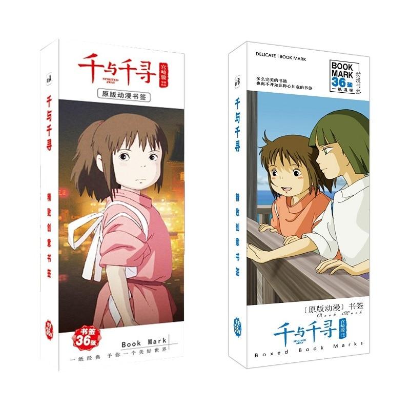 36Pcs/Set Miyazaki Hayao Spirited Away Anime Bookmark Figure Book Holder Message Card Stationery Bookmarks