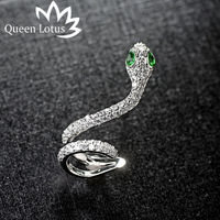 Queen Lotus Fashion Asymmetric Cloud Snakehead Design 925 Sterling Silver Needle Zircon For Women Earrings Party