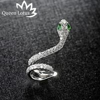 Queen Lotus Fashion Asymmetric Cloud Snakehead Design 925 Sterling Silver Needle Zircon For Women Earrings Party