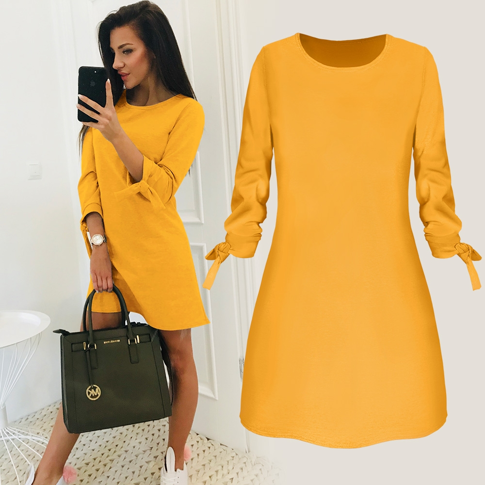 2019 Spring New Fashion Solid Color Dress Casual O Neck Loose Dresses 34 Sleeve Bow Elegant Beach Female Vestidos Plus Size