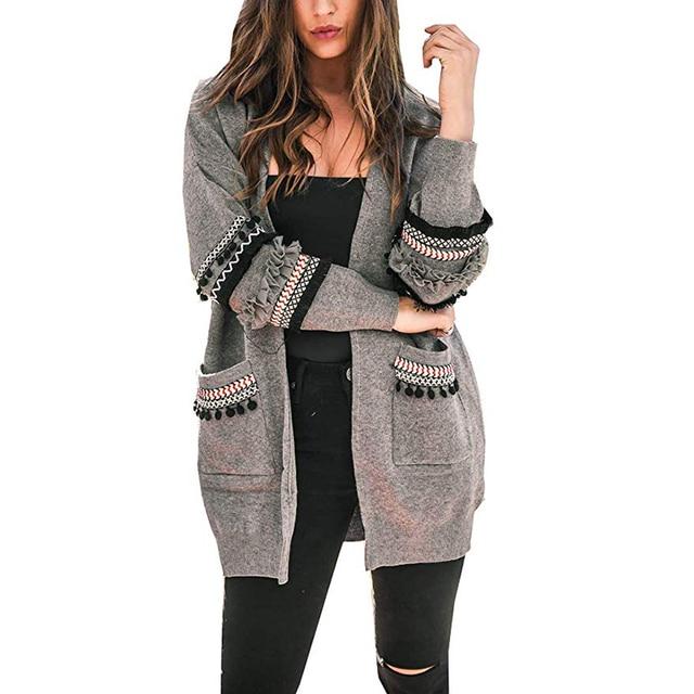 1be988a838ce3 Otoño Outwear abrigo de manga larga de las mujeres de punto Chaquetas  casuales para damas Patchwork
